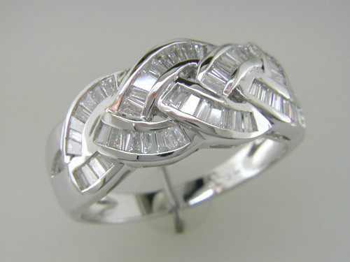 Custom design baguette diamond in curved channels  band