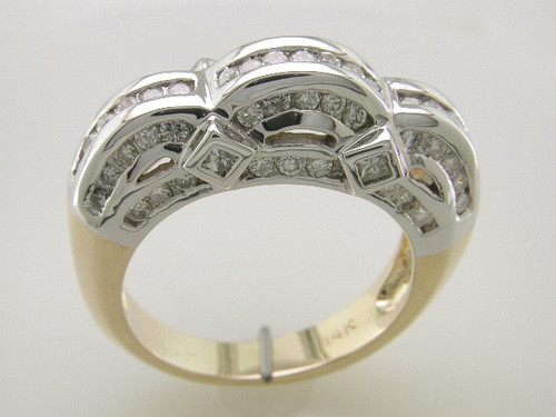 Custom design  diamond in curved channels fancy gallery band