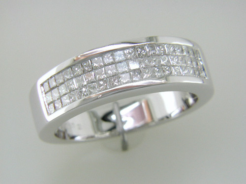 Custom design Gents triple row invisible PC diamond band
