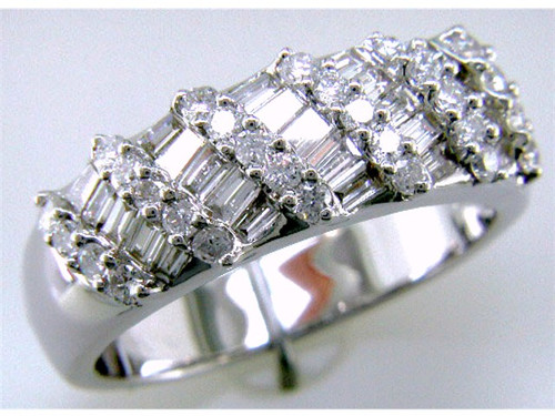 Custom design baguette and round diamond dome band