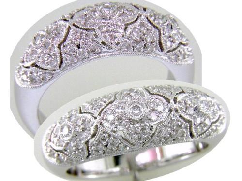 Custom design floral motif diamond dome band