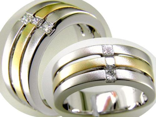 Custom design two tone (3) PC diamond triple stacked satin band