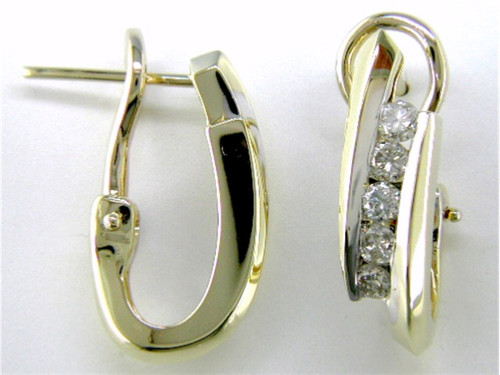Custom design asymmetrical channel set diamond omega back earrings