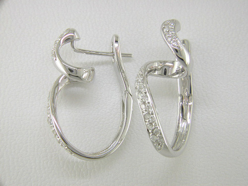 Custom design curly diamond hoop earrings