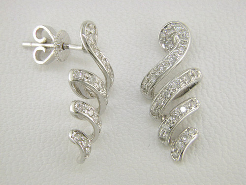 Custom design cork screw diamond drop earrings