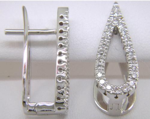 Custom design diamond open pear shape earrings