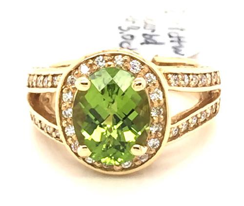 Peridot and diamond ring.