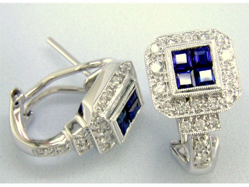 Custom design square sapphire cluster/diamond Omega back earrings
