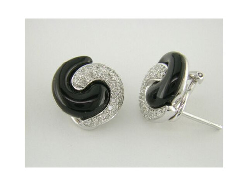 Custom design black onyx/diamond Omega back button earrings