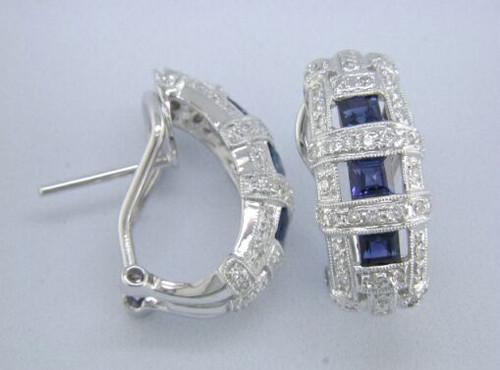 Custom design (3) PC sapphire/diamond Omega back hoop earrings