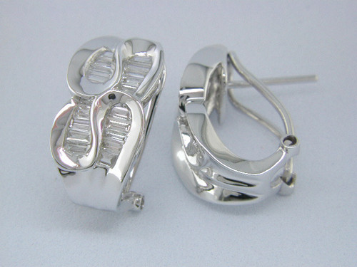 Custom design baguette diamond Omega back hoop earrings