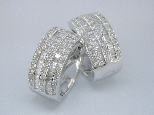 Custom design (5) row round/baguette diamond huggie hoop earrings