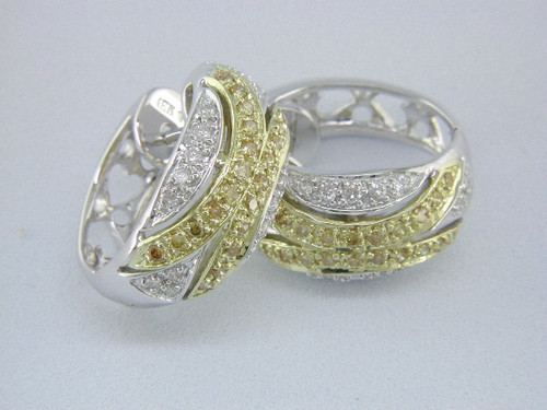Custom design white/yellow diamond huggie hoop earrings
