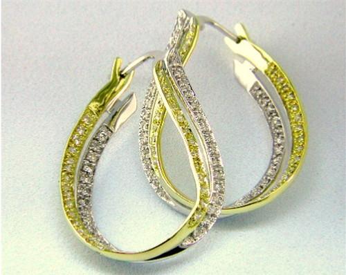 Custom design white/yellow diamond inside out hoop earrings