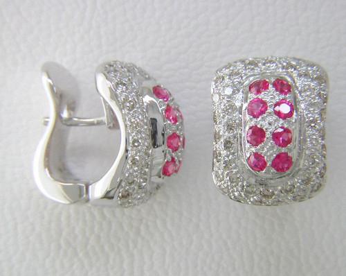 Custom design ruby/diamond hinged hoop earrings