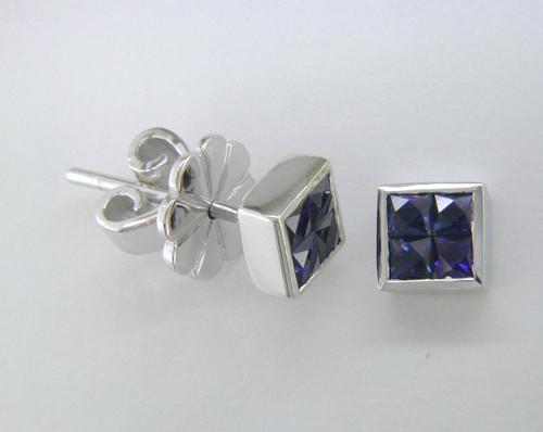 Custom design square sapphire cluster stud earrings