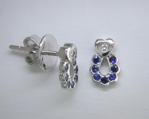 Custom design diamond heart sapphire circle post earrings