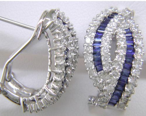 Custom design diamond/sapphire Omega back earrings