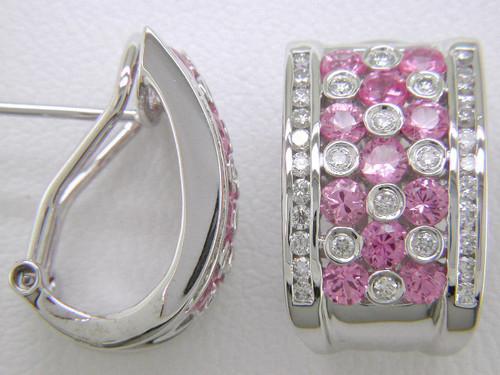 Custom design pink sapphire/diamond half hoop Omega back earrings