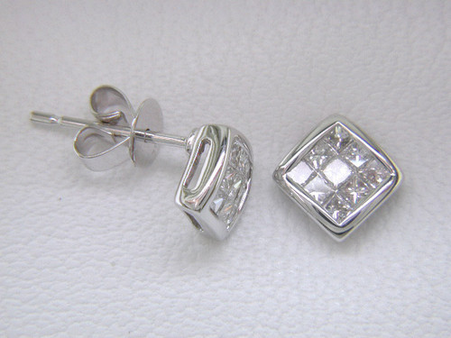 Custom design square diamond cluster post earrings
