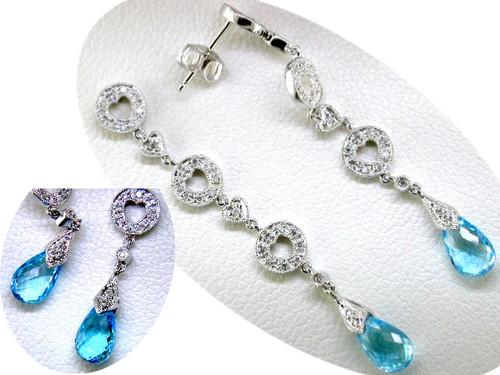Custom design diamond heart links/blue topaz briolette drop earrings