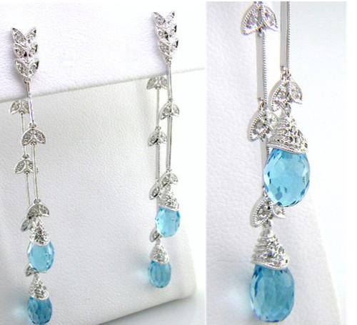 Custom design diamond leaf links/blue topaz briolette drop earrings
