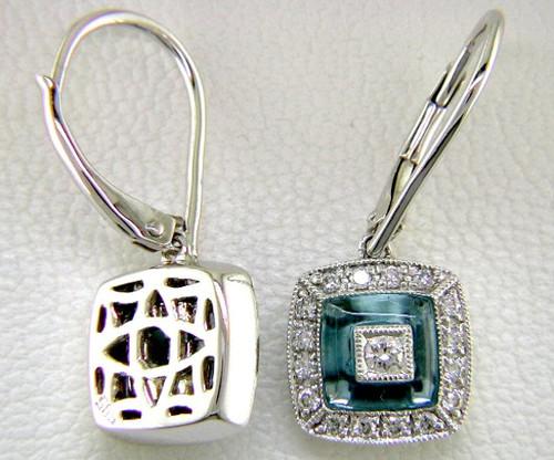 Custom design square dangle blue topaz/diamond lever back earrings