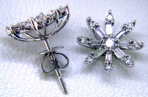 Custom design baguette/round diamond flower post earrings