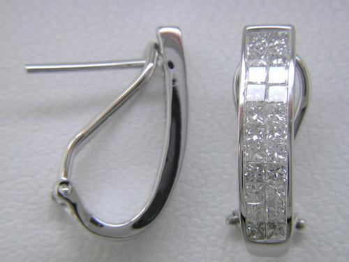 "Custom design double row PC  invisible set diamond ""J"" hoop earrings"