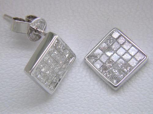 Custom design invisible set princess cut square post earrings