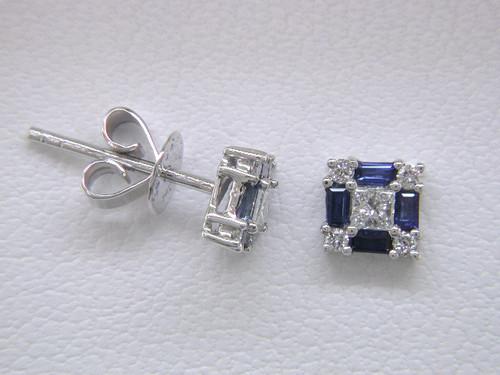 Custom design princess cut/round diamond and sapphire baguette square post earrings