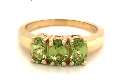 3-Oval cut peridot ring.