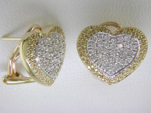 Custom design yellow and white diamond heart Omega back earrings