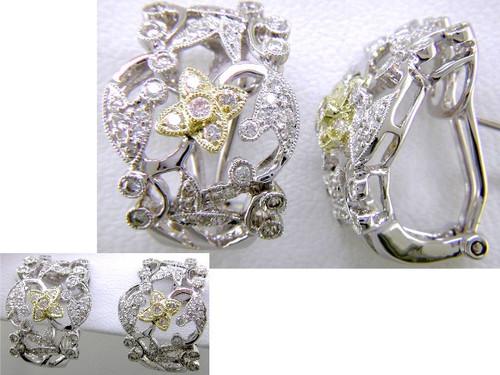 Custom design two tone diamond open design Omega back earrings