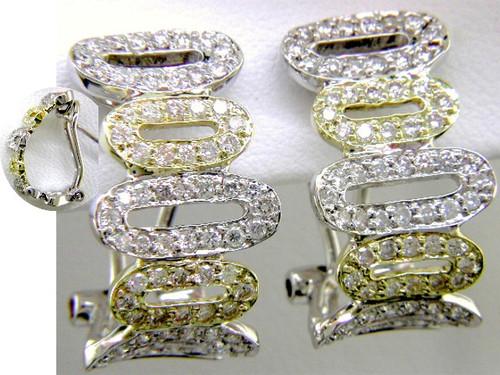"""Custom design two tone diamond open oval """"J"""" hoop earrings"""