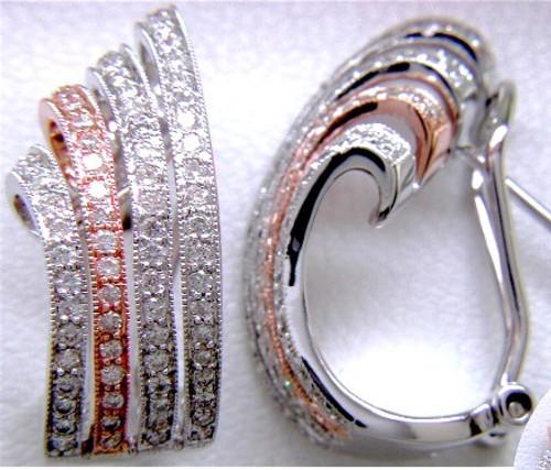 "Custom design two tone diamond four row ""J"" hoop earrings"
