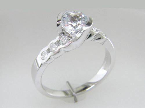 Custom design (7) 1/2 bezel set RB diamond engagement ring