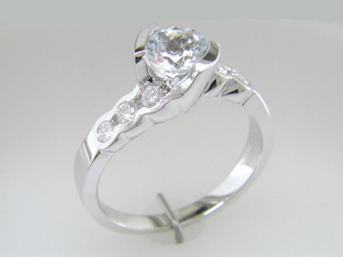Custom design (7) 1/2 bezel set RB diamond engagement ring