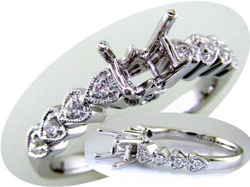 Custom design hearts on shank diamond semi mtg engagement ring