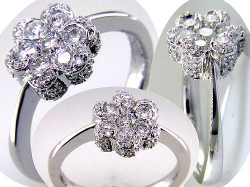 Custom design floral cluster diamond engagement ring