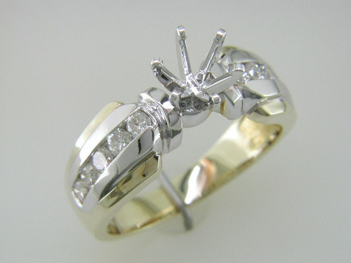 Custom design two tone channel set diamond semi mtg engagement ring