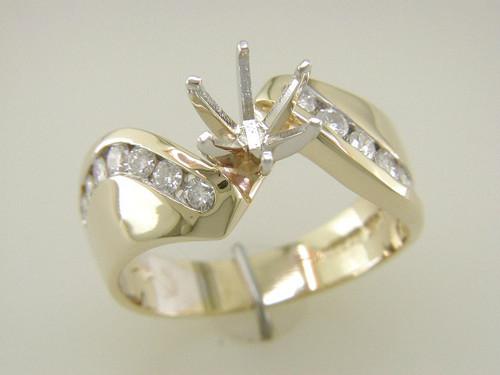 Custom design curved channel set diamond semi mtg engagement ring