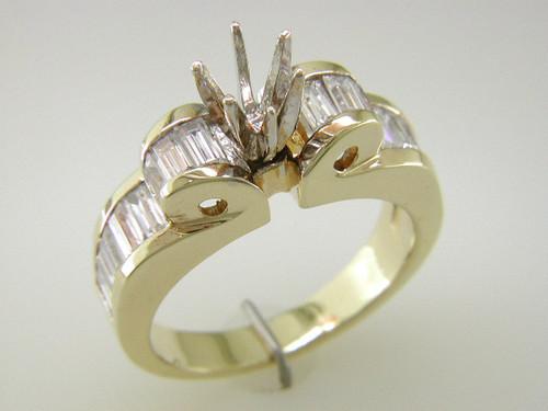 Custom design fancy baguette diamond semi mtg engagement ring