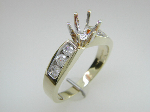 Custom design (6) channel set diamond semi mtg engagement ring