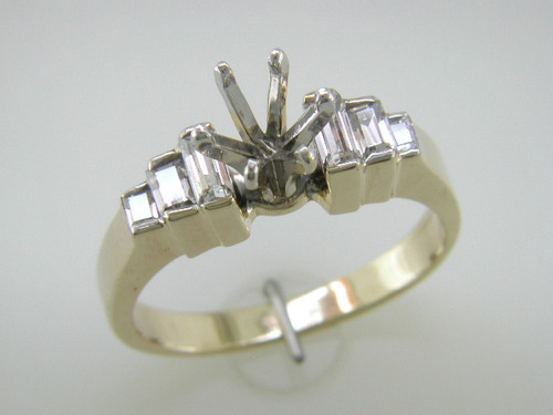 Custom design (6) straight baguette diamond semi mtg engagement ring