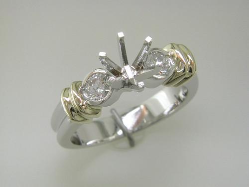 Custom design two tone 1/2 bezel set diamond semi mtg engagement ring