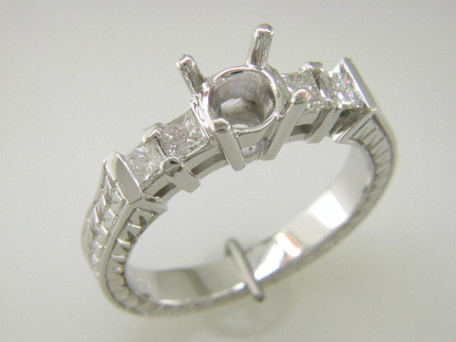 Custom design (4) PC diamond engraved band semi mtg engagement ring