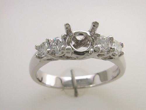 Custom design (4) diamond trellis prongs semi mtg engagement ring