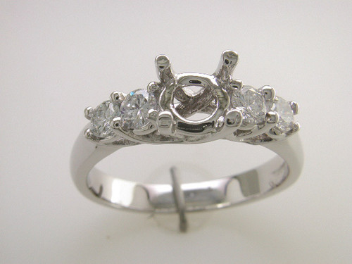 Custom design (4) diamond trellis prongs semi mtg engagement ring