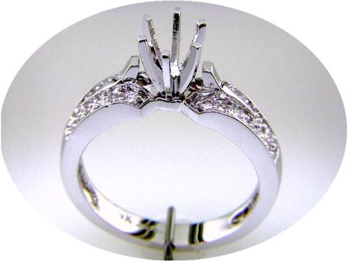 Custom design diamond set semi mtg engagement ring